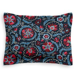 Red & Navy Blue Suzani Sham