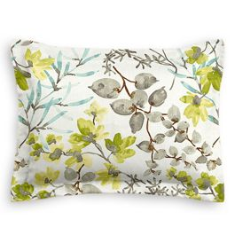 Aqua Blue Watercolor Floral Sham
