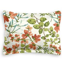 Coral Watercolor Floral Sham