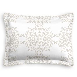 Light Tan & White Scroll Sham