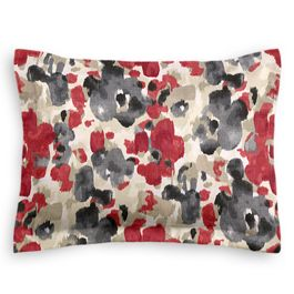 Gray & Red Watercolor Sham