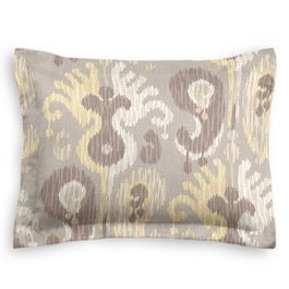 Pastel Yellow & Gray Ikat Sham
