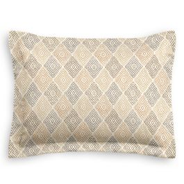 Beige Diamond Block Print Sham