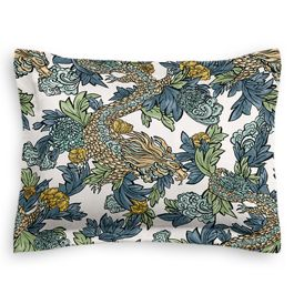 Aqua Chinoiserie Dragon Sham