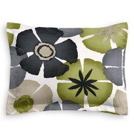 Modern Gray & Green Floral Sham