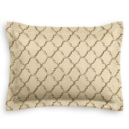 Gold & Tan Embroidered Quatrefoil Sham
