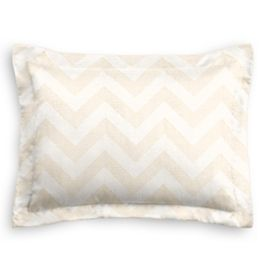 Metallic White & Gold Chevron Sham