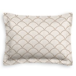 Embroidered Taupe Scallop Sham