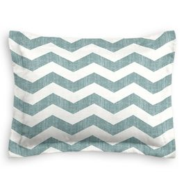White & Blue Chevron Sham