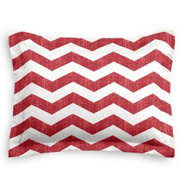 White & Red Chevron Sham