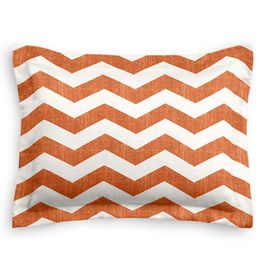 White & Orange Chevron Sham
