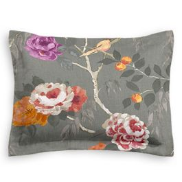 Painterly Pink & Gray Floral Sham