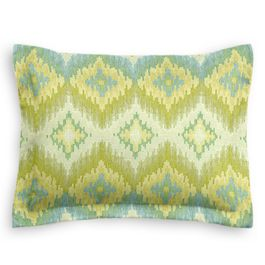 Aqua & Green Flame Stitch Sham