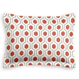 Gray & Red Hexagon Sham