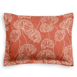 Coral Red Fan Leaf Sham