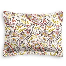 Stenciled Red & Gray Paisley Sham