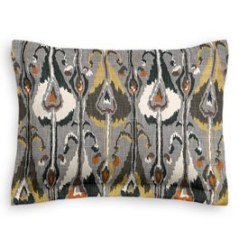 Gray & Orange Ikat Sham