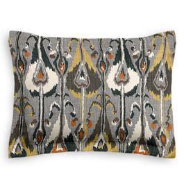 Gray & Orange Ikat Sham