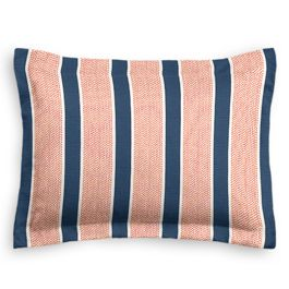 Coral & Blue Stripe Sham