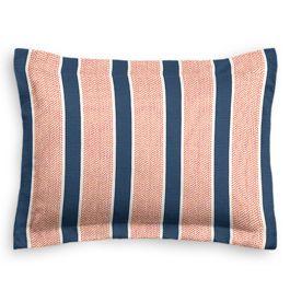 Coral & Blue Stripe Sham