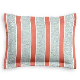 Aqua & Coral Pink Stripe Sham