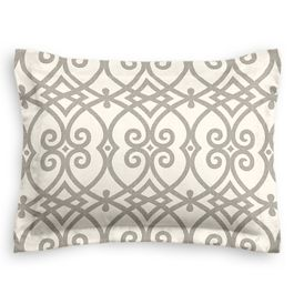 Gray Scroll Trellis Sham
