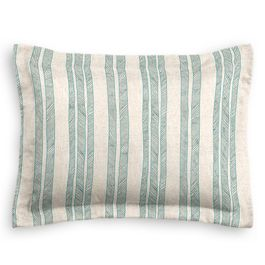 Embroidered Aqua Stripe Sham