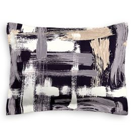 Black & White Brushstrokes Sham