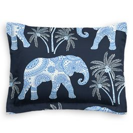 Navy Blue Elephant Sham