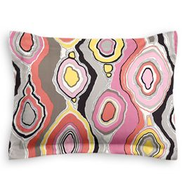 Hot Pink & Orange Abstract Sham