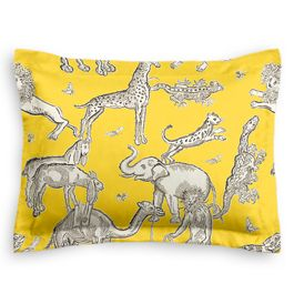 Yellow & Gray Zoo Animal Sham
