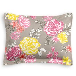 Hot Pink & Gray Floral Sham