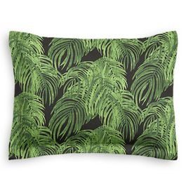 Green & Black Palm Leaf Sham