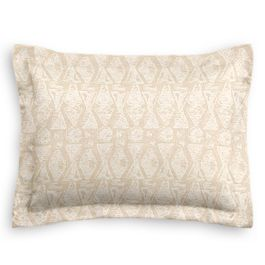 White & Natural Tribal Print Standard Sham