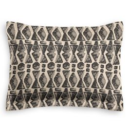 Tan & Black Tribal Print Standard Sham