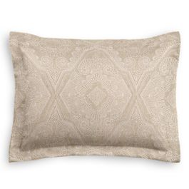 White & Tan Embroidery Standard Sham