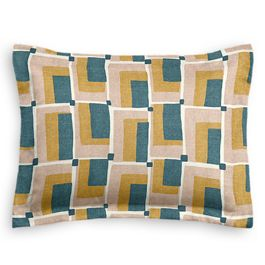 Yellow & Teal Geometric Standard Sham