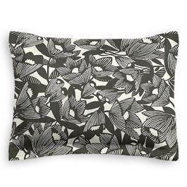 Modern Black & White Floral Standard Sham