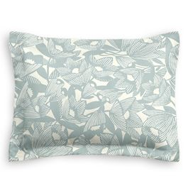 Modern Light Blue Floral Standard Sham