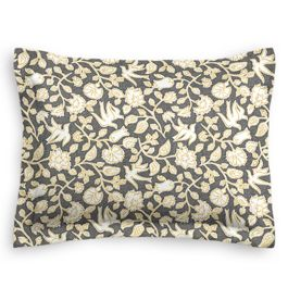Dark Gray Floral & Bird Standard Sham