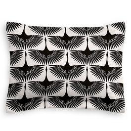Flocked Black & White Bird Standard Sham