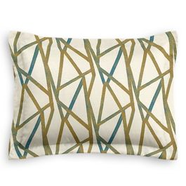 Gold & Teal Abstract Stripes Standard Sham