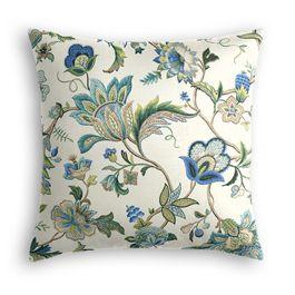 Jacobean Blue Floral Euro Sham
