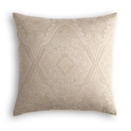 White & Tan Embroidery Euro Sham