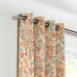 Multicolor Red Paisley Grommet Curtains Close Up