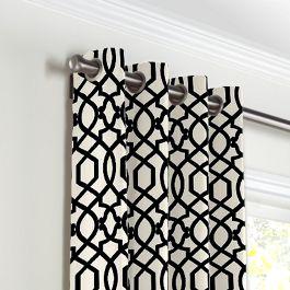 Black & White Trellis Grommet Curtains Close Up