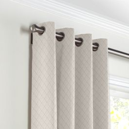 Gray Diamond Pintuck Grommet Curtains Close Up