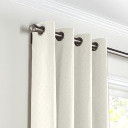Cream Diamond Pintuck Grommet Curtains Close Up