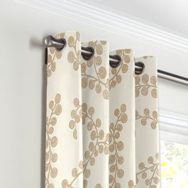 Gold Metallic Swirl Grommet Curtains Close Up