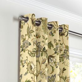 Jacobean Beige Floral Grommet Curtains Close Up